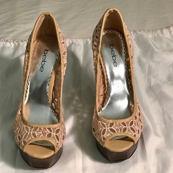bebe Shoes - Bebe Beige lace 6in platform heels.